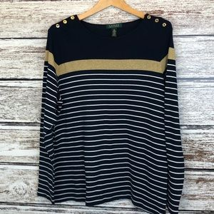 Lauren Ralph Lauren Navy Gold Stripes Buttons 2X